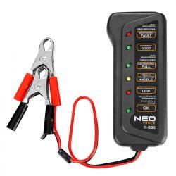 Akkumulátor teszter, digitális, akku állapot, generátor töltés ellenőrzése 12V,