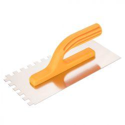 Acél simító, fogazott, rozsdamentes, - 280x130mm, 10x10x10mm fog