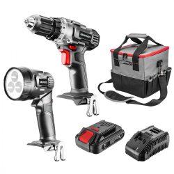 Akkus gépkészlet 18V Energy+: akkus fúró + lámpa + táska +akku + töltő 2.0Ah, GR