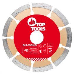 Gyémánt vágókorong 115mm SZEGMENTÁLT, Top Tools