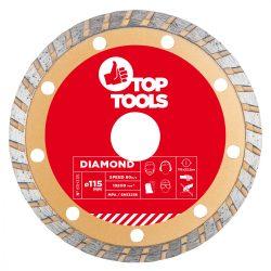 Gyémánt vágókorong 115mm TURBO, Top Tools