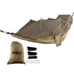 Függőágy szúnyoghálóval 330 x 140 cm, 210T nylon, max terhelhetőség 200kg, sötét