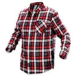 Flanel ing, piros-fekete-fehér, 100% pamut, XL