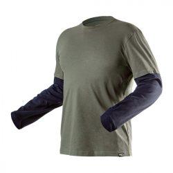 Hosszú ujjú póló, olíva, kettősujjú, XL