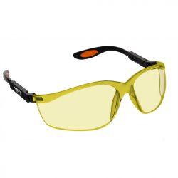Védőszemüveg, polikarbonát, sárga lencse, állítható keret, NEO